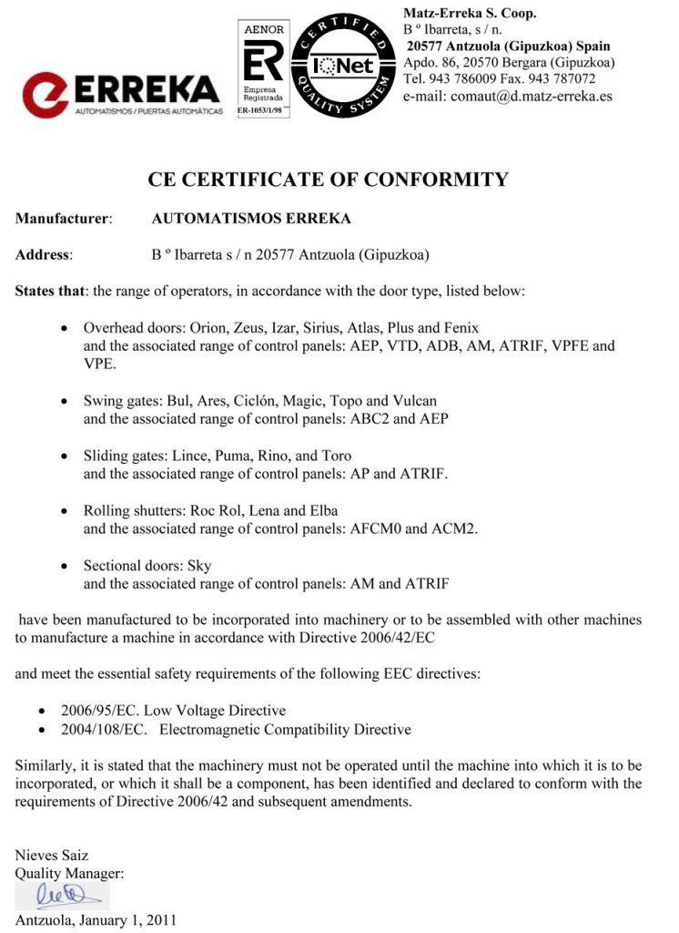 Erreka - сертифікати якості